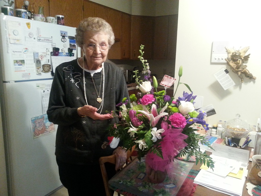 My Mom at her apartment this past Mother's Day.