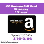 $50 Amazon Gift Card Giveaway ~ 2 Winners!