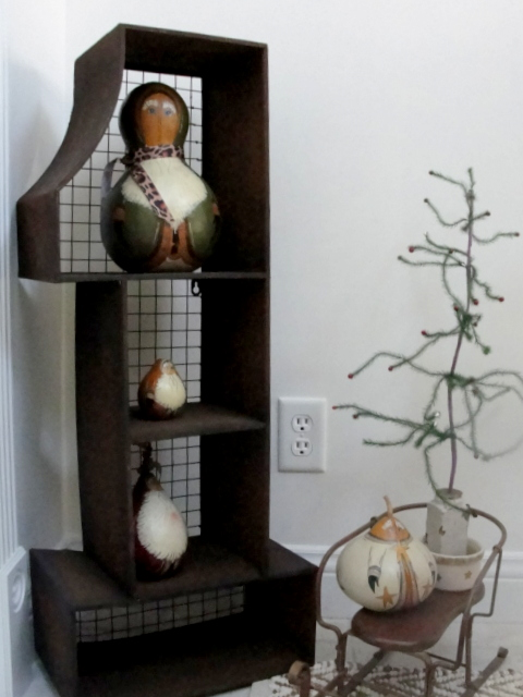 Sunroom painted gourds